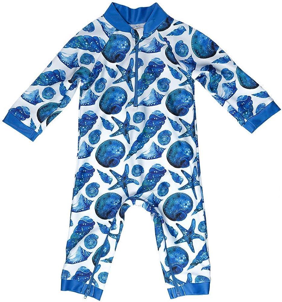Certified UPF 50+ Honeysuckle Swim Company Baby Boy Swimsuit Easy Inseam Diaper Zipper