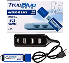 Petforu True Blue Mini Overdose Pack USB Stick Plug and Play for Playstation Classic (128GB, 203 Games)