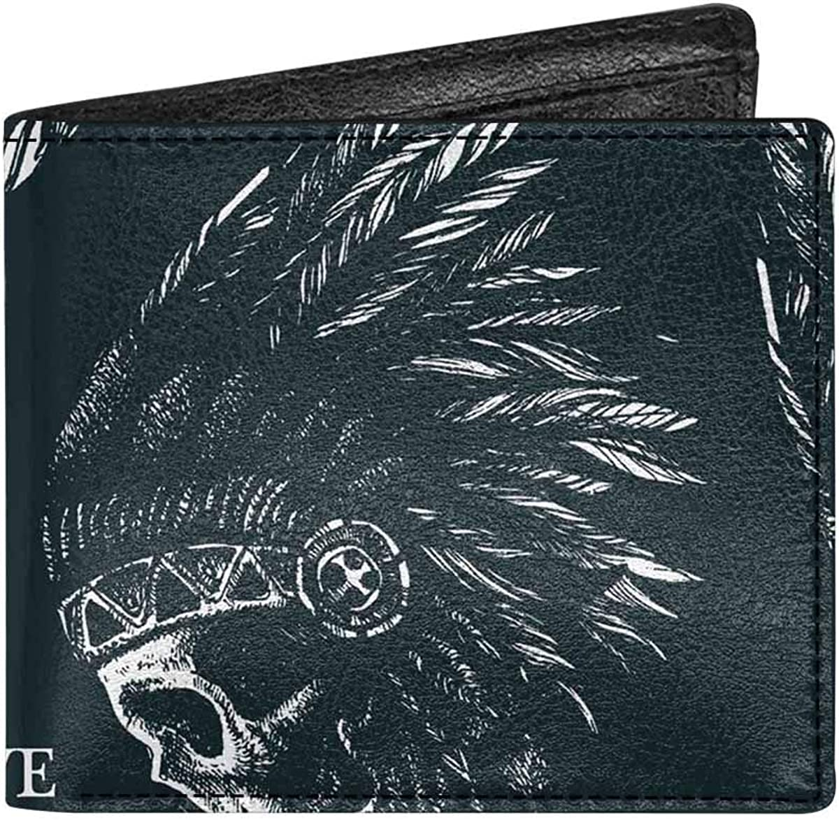 INTERESTPRINT Native Skull Indian Chief Bifold Wallet PU Leather Wallet Coin Purse for Men and Women