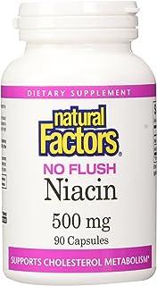 Natural Factors - Vitamin B3 No Flush Niacin 500mg, Supports Cholesterol Metabolism, 90 Capsules