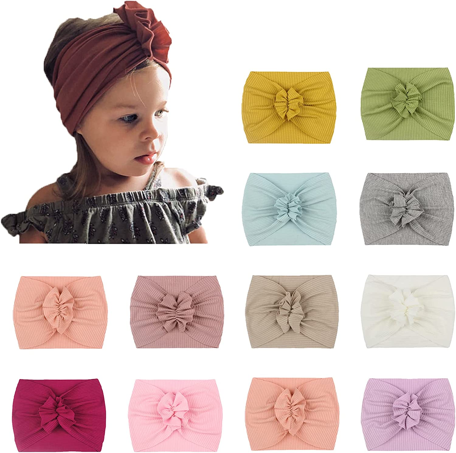 Baby Nylon Headbands Tie-Dyed Hairbands Hair Bows for Baby Girls Newborn Infant Toddlers Kids