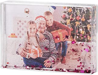NIUBEE 5x7 Glitter Liquid Photo Frame, Plastic Acrylic Floating Sparkle Water Picture Frames for Girls (Pink)