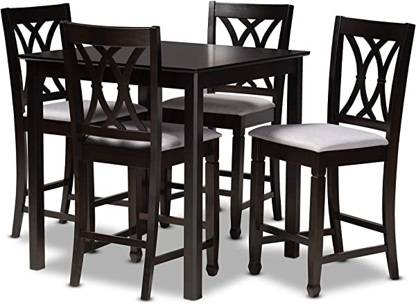 Baxton Studio 157 9596 9776 AMZ 5 Piece Pub Set Gray And Dark Brown