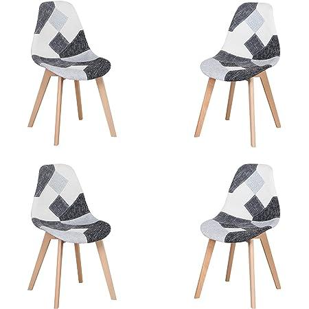Lot de 4 Chaise,chaises Patchwork Design rétro,chaises de Salle à Manger rembourrées avec Pieds en hêtre,Convient pour Salle à Manger, Restaurant, Salon (Gris Noir et Blanc)