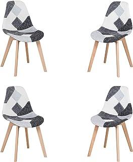 Lot de 4 Chaise,chaises Patchwork Design rétro,chaises de Salle à Manger rembourrées avec Pieds en hêtre,Convient pour Sal...