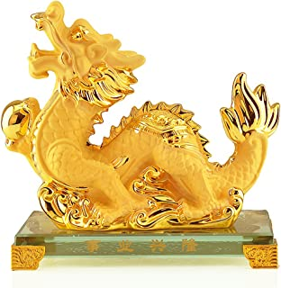 Wenmily Large Size Chinese Zodiac Dragon Golden Resin Collectible Figurines Table Decor Statue (Large Size)