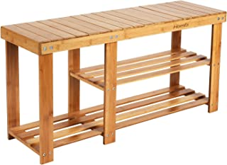 HOMFA Bamboo Shoe Rack Bench 3-Tier, Entryway Storage Organizer with Seat, Shoe Shelf for Boots, Multi Function Furniture ...