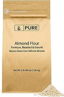 PURE Almond Flour (3 lb. (48 oz.)), Paleo & Keto Friendly, Gluten-Free, Vegan, Product of California, Blanched Almonds