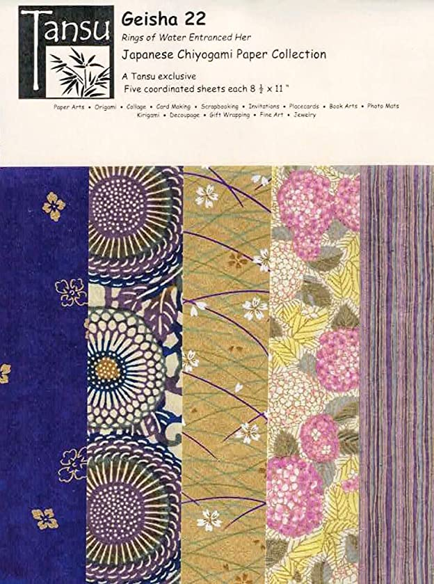 Japanese Chiyogami Papers - Geisha 22 - Rings of Water Entranced Her
