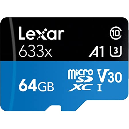 Lexar High-Performance 633x 64GB microSDXC UHS-I Card w/ SD Adapter, Up To 100MB/s Read, for Smartphones, Tablets, and Action Cameras (LSDMI64GBBNL633A)