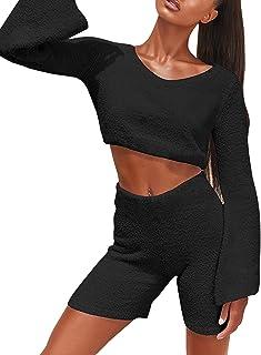 Conjunto de Ropa de Estar por casa para Mujer Conjunto de Top y Pantalones Cortos con Mangas Acampanadas Conjunto de Conju...