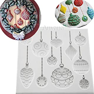 Anyana Christmas Ornament Baking Molds XMAS Silicone Fondant molds holiday Cake Decorating Tools Festival Gumpaste cupcake topper decorations hot air balloon resin Clay Chocolate Candy Molds Non stick
