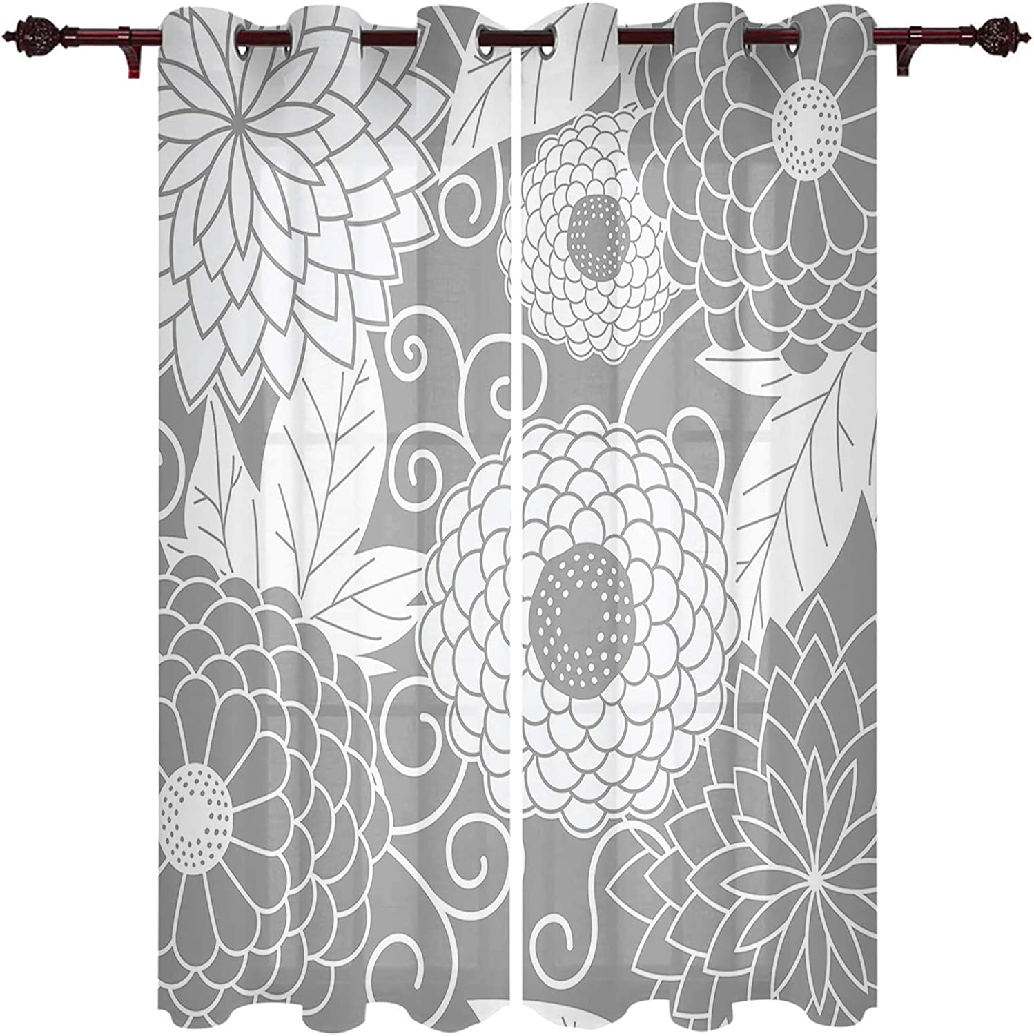EwdeWwo Curtains for Living Oklahoma City Mall Room Drapes Luxury goods 63 Length Abstract Inch