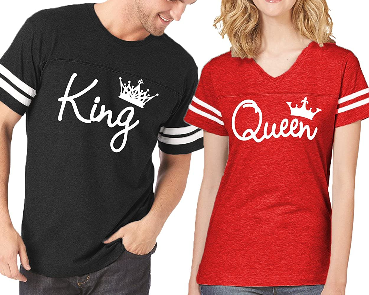 CRAZYDAISYWORLD King Queen t-Shirts Fashion Crowns Jersey Style for Couple at Amazon Women's Clothing store