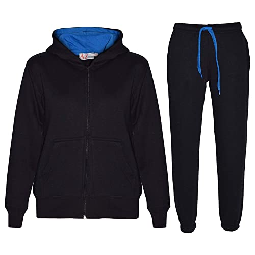 Boys Tracksuit New Kids Plain Hooded Jogging Bottoms and Hoodie Ages 5-14 Years