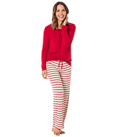 Kickee Pants Long Sleeve Loosey Goosey Tee Pants PJ Set (2020 Candy Cane Stripe) Women