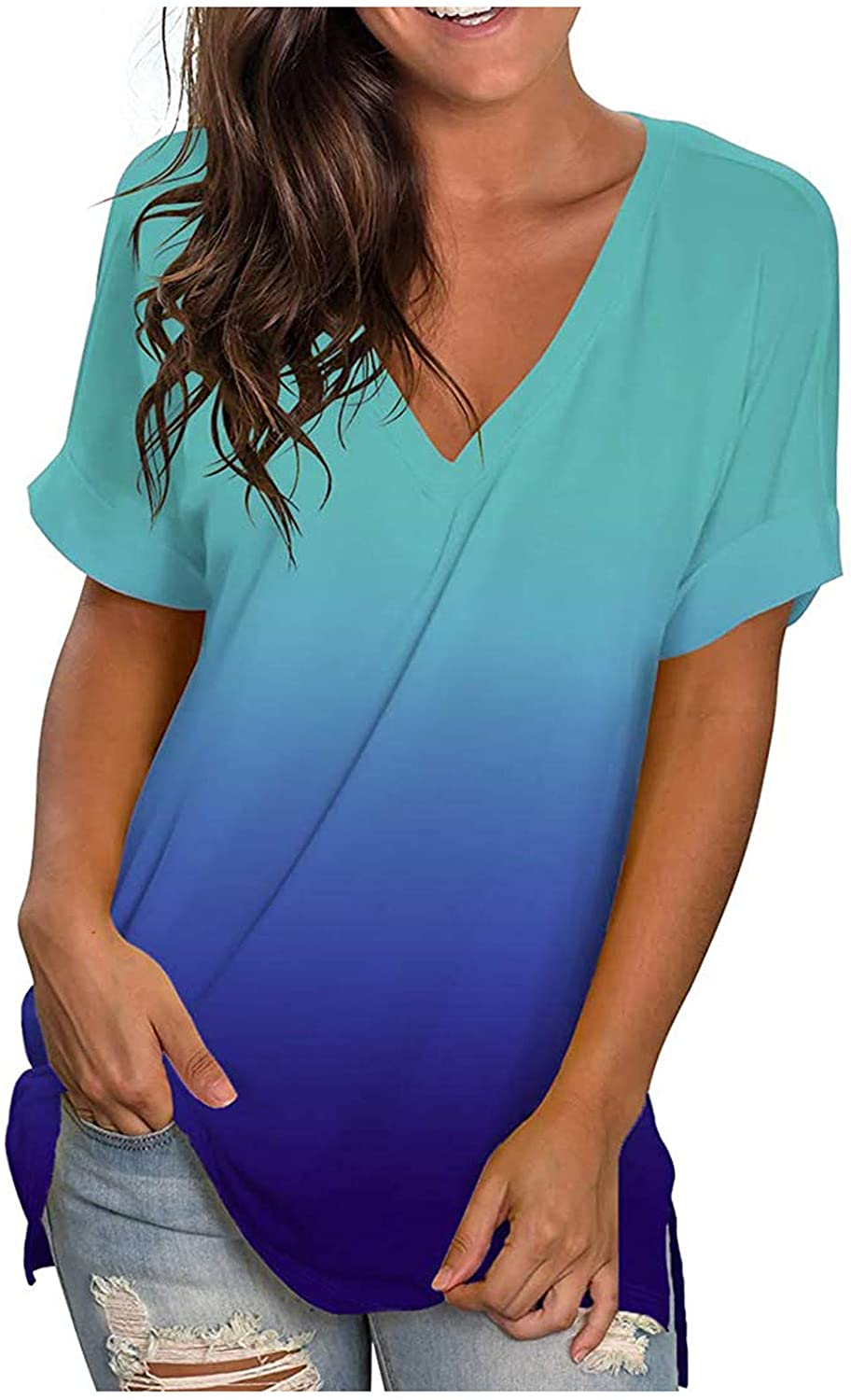 Womens Summer Tops, Women 2021 Gradient Floral Tops V-Neck Tees with Sleeves T-Shirt Printed Side Split Tunic Tops