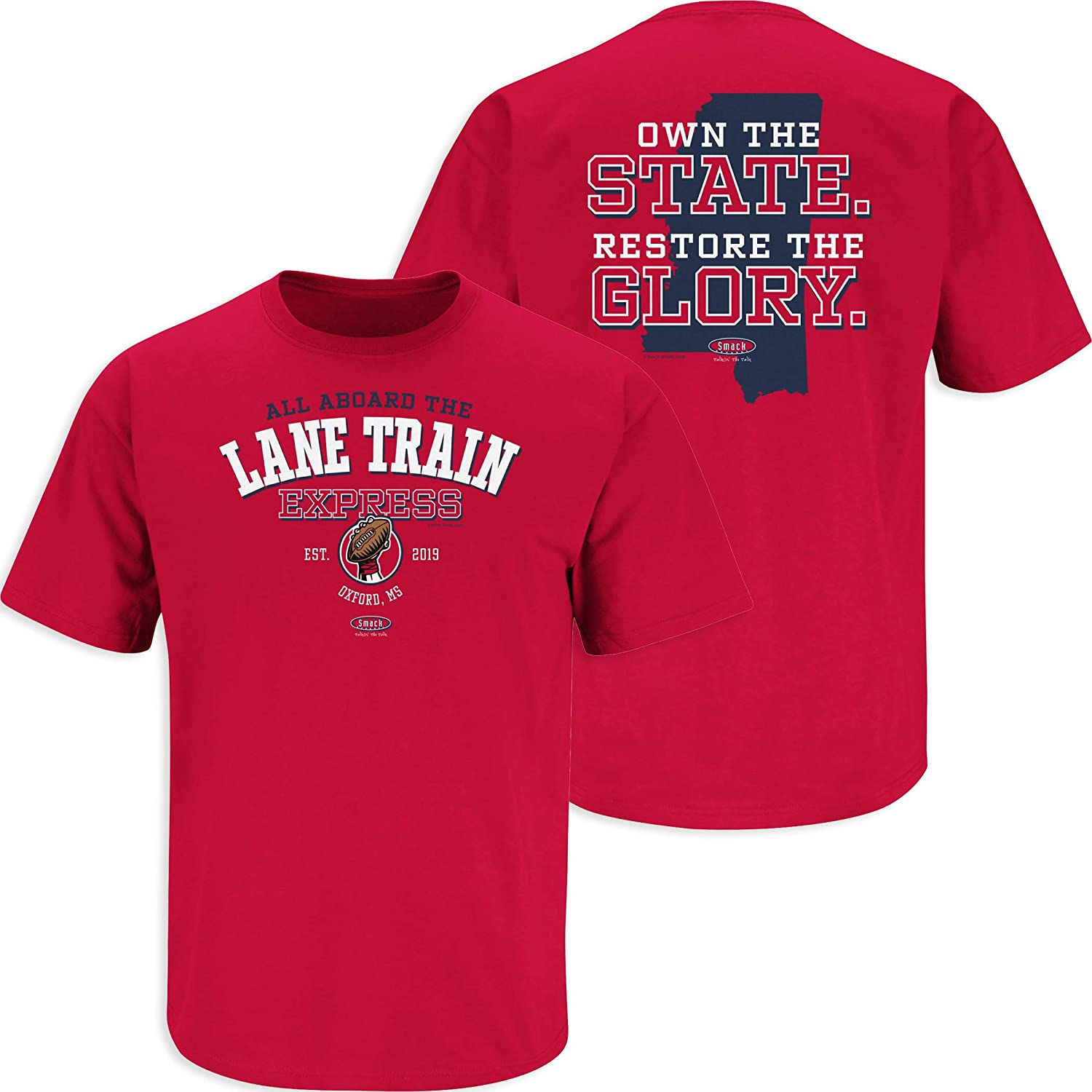 Smack Apparel Ole Miss Football Fans All Aboard The Lane Train Express Red T-Shirt Sm-5X