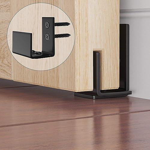 new arrival Homlux Matte Black 2021 wholesale Floor Guide Wall Mounted Roller Adjustable Fit Distance with Hardware for Sliding Barn Door Door Cabinet Closet,U Shape, Black, 1PCS sale
