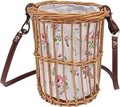 TOPBATHY Basket Crossbody Bag Rattan Straw Bag Handwoven Rattan Bag Straw Shoulder Bag Beach Summer Bag (Mixed Color)