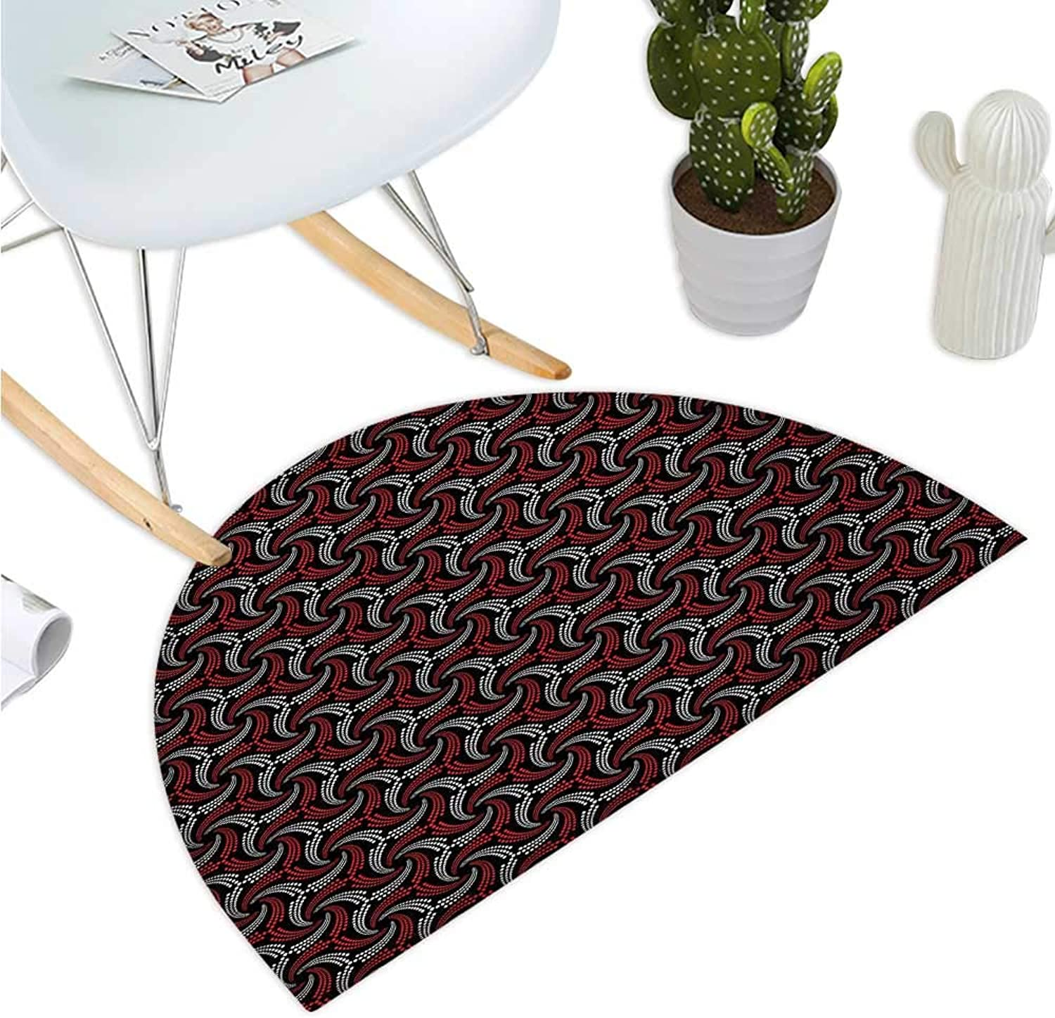 Red and Black Semicircular Cushion Abstract Pattern Minimalistic Modern Design with Curvy Dotted Lines Entry Door Mat H 39.3  xD 59  Scarlet Black White