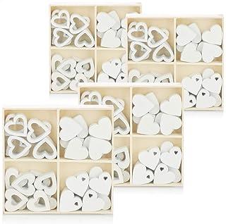 com-four® décor à saupoudrer de cœur 128x - Petits Coeurs en Bois en Quatre Motifs - Coeurs en Bois pour décorations de Ta...