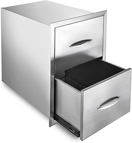 popular Mophorn Outdoor Kitchen Drawer Stainless sale Steel BBQ Storage with Chrome Handle Flush Mount Sliver outlet online sale (18 x 24 x 24 Inch, Double Access Drawer) sale