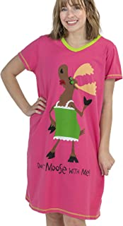 Don't Moose with Me Women's Animal Pajama Nightshirt by LazyOne | Cute Animal Nightgowns for Ladies (S/M)