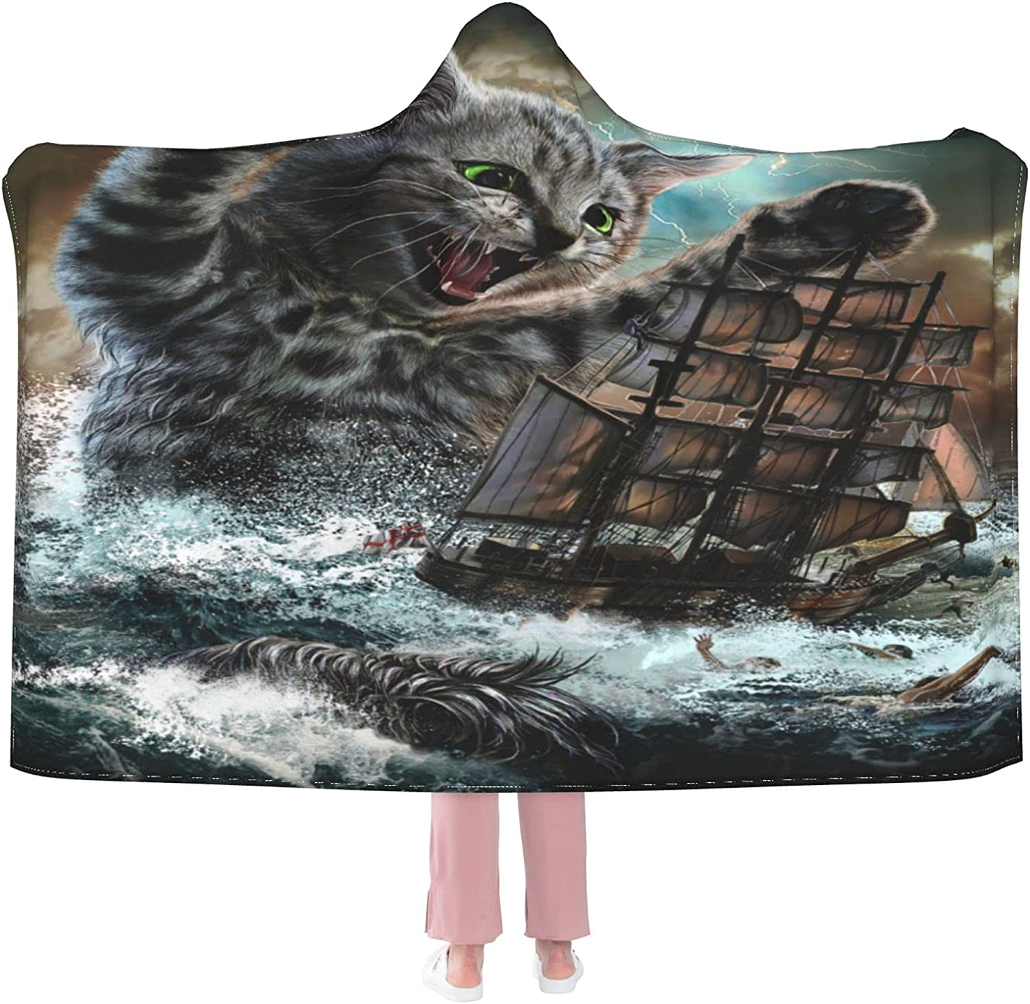 Cute Cat Wearable Blanket wholesale Hooded Soft Flannel Max 58% OFF C