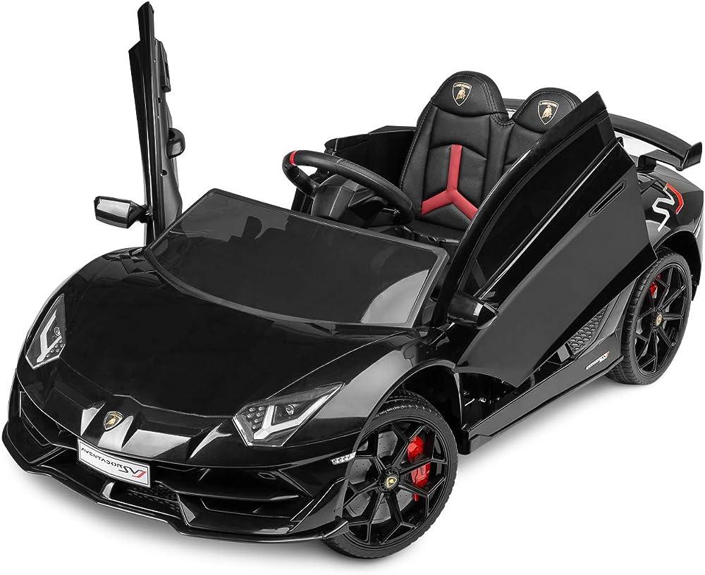 Toyz auto elettrica per bambini 12v. lamborghini aventador, macchina con luci led e display multimediale EN71EN62115.