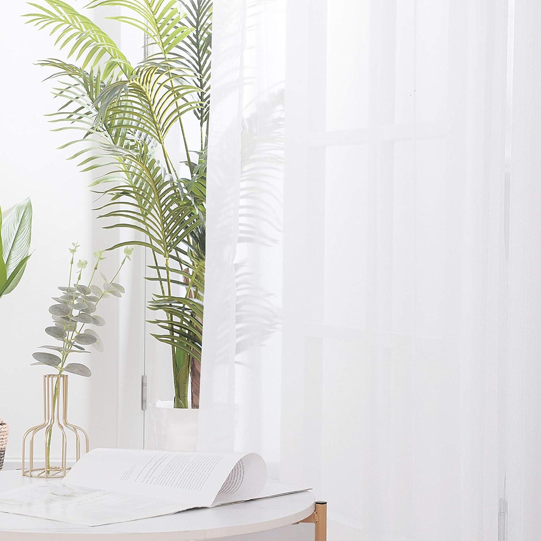 Deconovo 2er Set Gardinen Transparent /Ösenvorhang Voile Vorhang 90x140 cm Creme