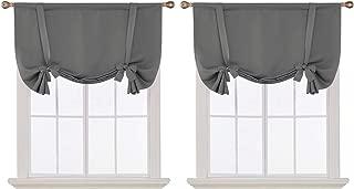 Deconovo Grey Blackout Curtains Rod Pocket Room Darkening Tie Up Valance for Living Room Grey 42W x 45L 2 Panels