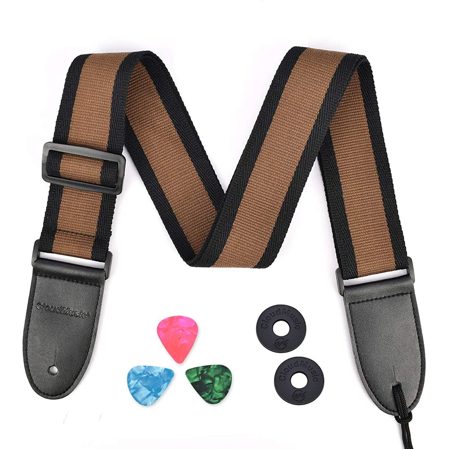 CLOUDMUSIC Cotton Guitar Strap For Acoustic Guitar Electric Bass Classic Cotton Country Style (Brown)