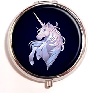 Hiuyi Cute graphic unicorn Custom Personalized Round Pill Box Pocket Wallet Travel Pill Vitamin Decorative Box Protector