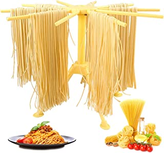 GOZIHA Pasta Drying Rack Noodle Stand with 10 Bar Handles Collapsible | Household Noodle Dryer Rack Hanging for Home Use | Spaghetti Drying Rack Noodle Stand | Easy Storage and Quick Set-Up (Yellow)