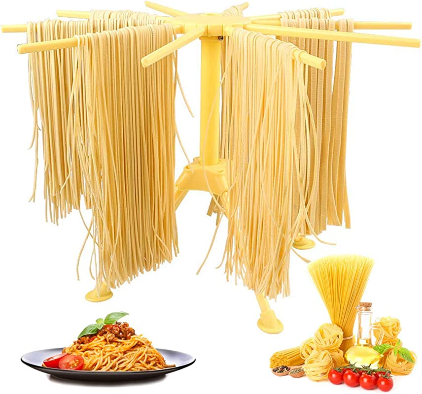 GOZIHA Pasta Drying Rack Noodle Stand With 10 Bar Handles Collapsible Household Noodle Dryer Rack Hanging For Home Use Spaghetti Drying Rack Noodle Stand Easy Storage And Quick Set Up Yellow