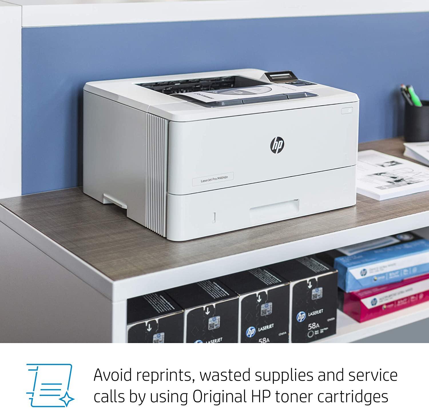 HP LaserJet Pro M404dn Monochrome Laser Printer with Built-In Ethernet & Double-Sided Printing - Built-in Ethernet (W1A53A)