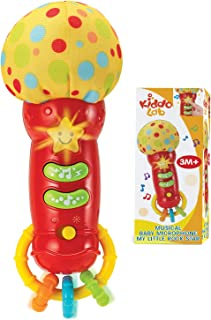 Kids Microphone Toy. My First Play Toy Microphone with Sounds and Teethers / Rattle. Battery Operated Toy Microphone for T...