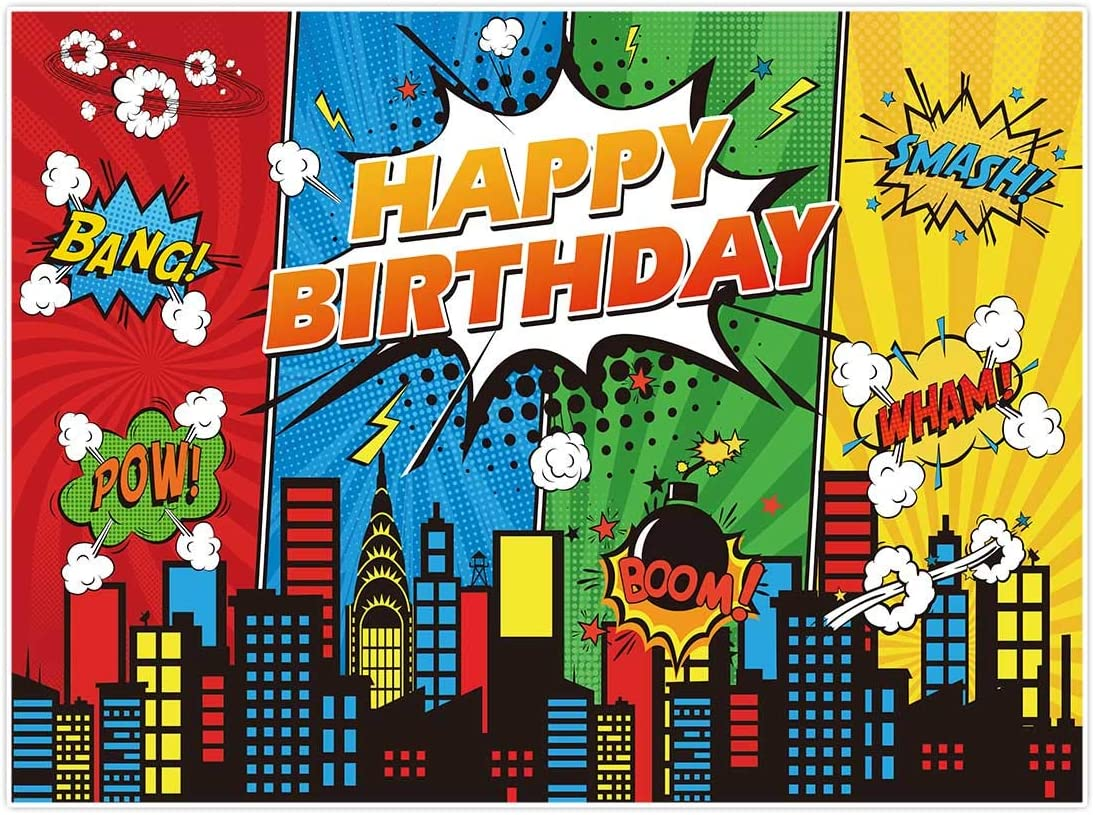 Allenjoy 8x6ft Superhero Theme Backdrop for Children Boys Kids Super Heros Comic Skyline 1st Happy Birthday Party Supplies Decorations Baby Shower Home Wall Decor Favors Banner Photography Background