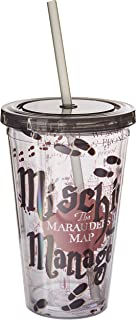 Silver Buffalo HP09087 Warner Brothers Harry Potter Mischief Managed Plastic Cold Cup with Lid and Straw, 16-Ounces, Multi...