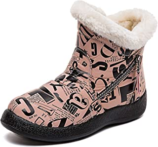 CELANDA Kids Printing Winter Snow Boots Boys Girls Warm Comfy Faux Fur Lined Ankle Boots Child Cold Weather Waterproof No...