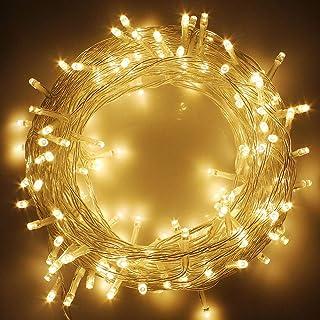 Twinkle Star 33FT 100 LED Indoor String Lights Warm White, Plug in String Lights 8 Modes Waterproof for Indoor Outdoor Chr...