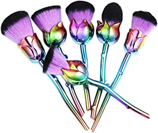 Brush Set, XUANOU 6 Pcs Rose Shape Soft Contour Face Powder Foundation Blush Brush Makeup Cosmetic Tool (Purple)