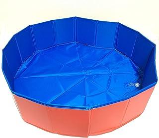 犬 プール ペット用 バスグッズ 折り畳み PVC複合素材 ペット用バスタブ 持ち運び便利 底面水抜き栓付き ペットプール 夏 猫 小型犬 中型犬 大型犬 屋内屋外用 (120*30 CM, レッド)