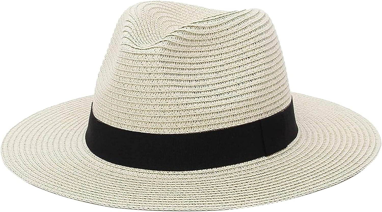 Seupeak Men Womens Straw Fedora Hat Wide Brim Beach Panama Hat for Mens Classic Panama Straw Hat Jazz Sun Cap (Color : Beige, Size : 7 1/8-7 1/4)