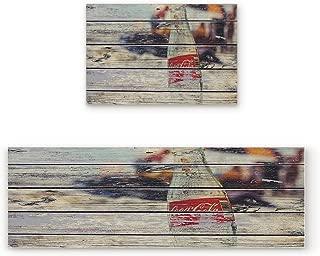 Livencher 2 Piece Non-Slip Kitchen Mat Rubber Backing Doormat Runner Rug Set,Coke Bottle Rustic Wooden Plank