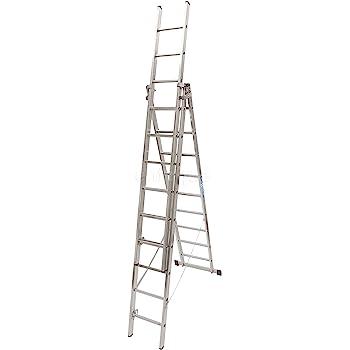 Escalera industrial de aluminio triple tijera un acceso con tramo extensible 11 x 3 peldaños serie robust: Amazon.es: Hogar
