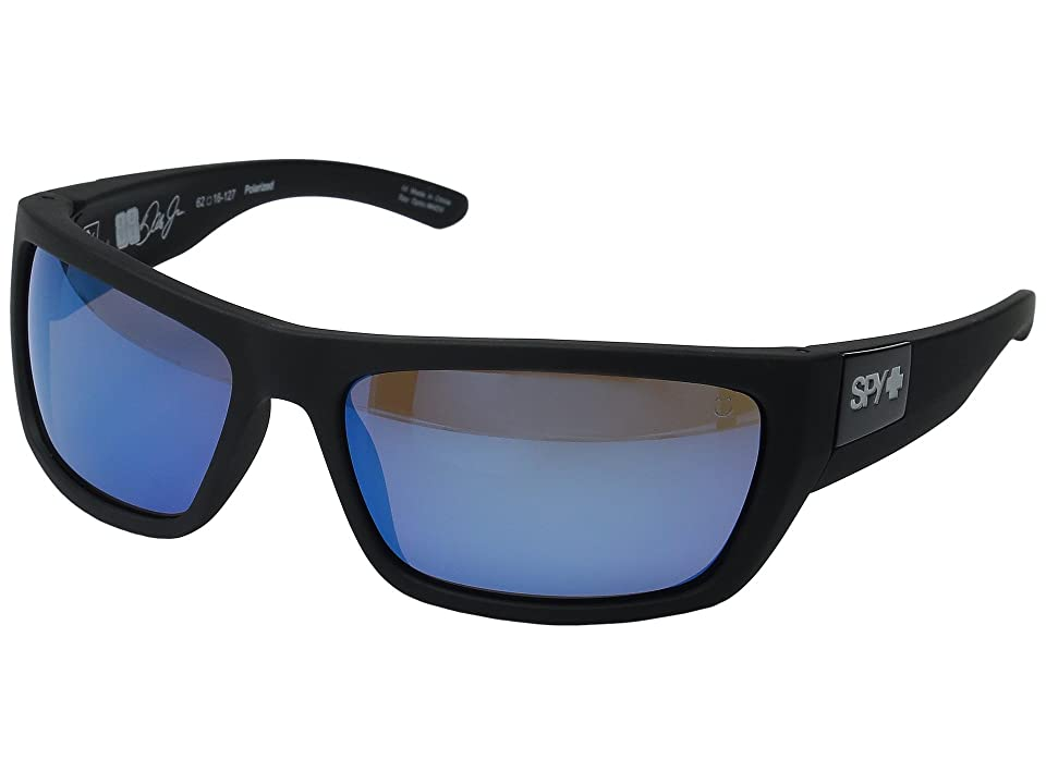Spy Optic Dega (Soft Matte Black/Happy Bronze Polar w/ Dark Blue Spectra) Athletic Performance Sport Sunglasses