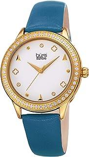 Burgi Crystal Filled Bezel Women's Watch - Unique Shapes and Diamond Hour Markers - Floating Enamel Dial - Round Analog Quartz - BUR221