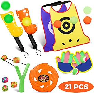 iBaseToy 21 Pieces Sports Games Toys Set, Outdoor Play with Scoop Ball Toss, Self-Stick Toss and Catch Games, Slingshot Toys and Flying Disc Toy for Kids Gift Idea